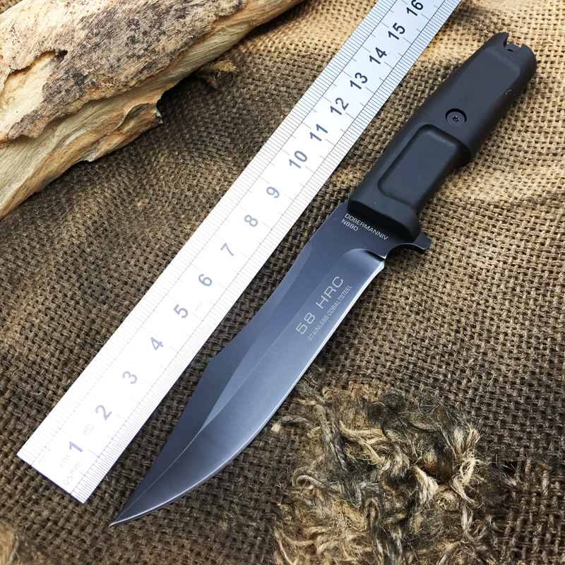 VENOM Survival Fixed Knives,N690 Steel Blade Rubber Handle Camping Tactical Knife,Hunting Knife.