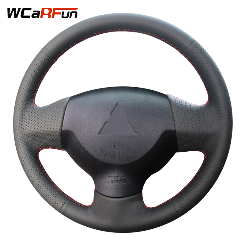 WCaRFun Hand-stitched Black Leather Steering Wheel Cover for Mitsubishi Lancer EX 10 Lancer X Outlander
