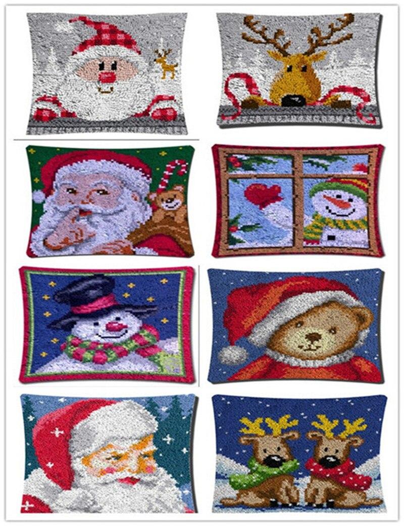 Fashion Christmas Cushion Latch Hook Kit Pillow Mat DIY Craft Christmas Cross Stitch Needlework Crocheting Cushion EmbroideryFashion Christmas Cushion Latch Hook Kit Pillow Mat DIY Craft Christmas Cross Stitch Needlework Crocheting Cushion Embroidery