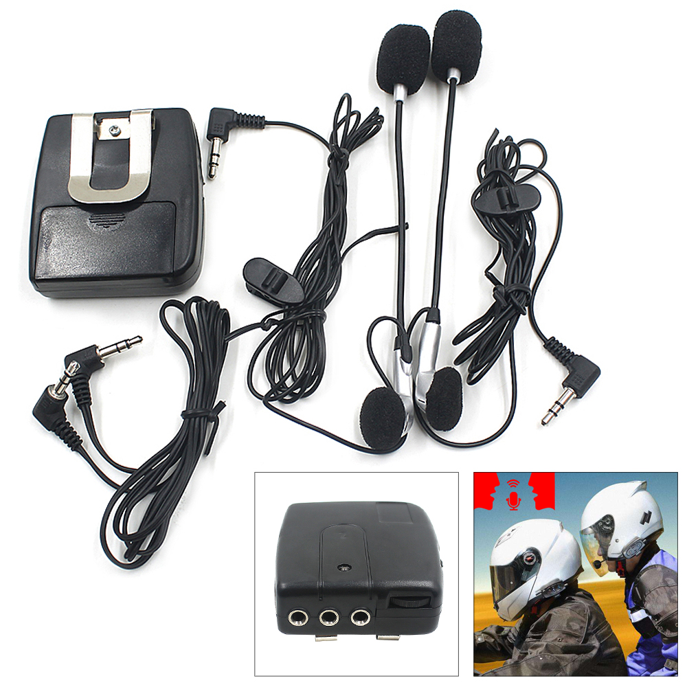 Universal Headset Helmet 2 Way Intercom Communication System Black Interphone 3.5MM Plug With MIC For Motorcycle