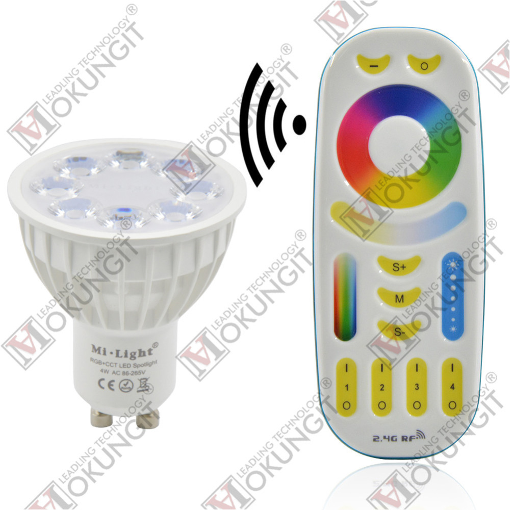 Mokungit 1~4Pcs Dimmable 2.4G Wireless Milight Led Bulb GU10 MR16 RGB+CCT Led Spotlight Smart Lamp Lighting AC86-265V+ Remote smart bulb e27 7w led bulb energy saving lamp color changeable smart bulb led lighting for iphone android home bedroom lighitng