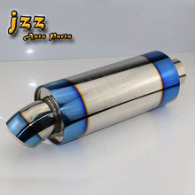 JZZ 304 Stainless Steel 3 Burned Blue muffler car vehicle exhaust Silencer 2 inlet exhaust tip
