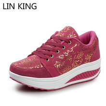 Купить с кэшбэком LIN KING Lace Up Women's Casual Shoes Girl Wedges Platform Shoes Breathable Height Increasing Shoes Thick Sole Ladies Work Shoes