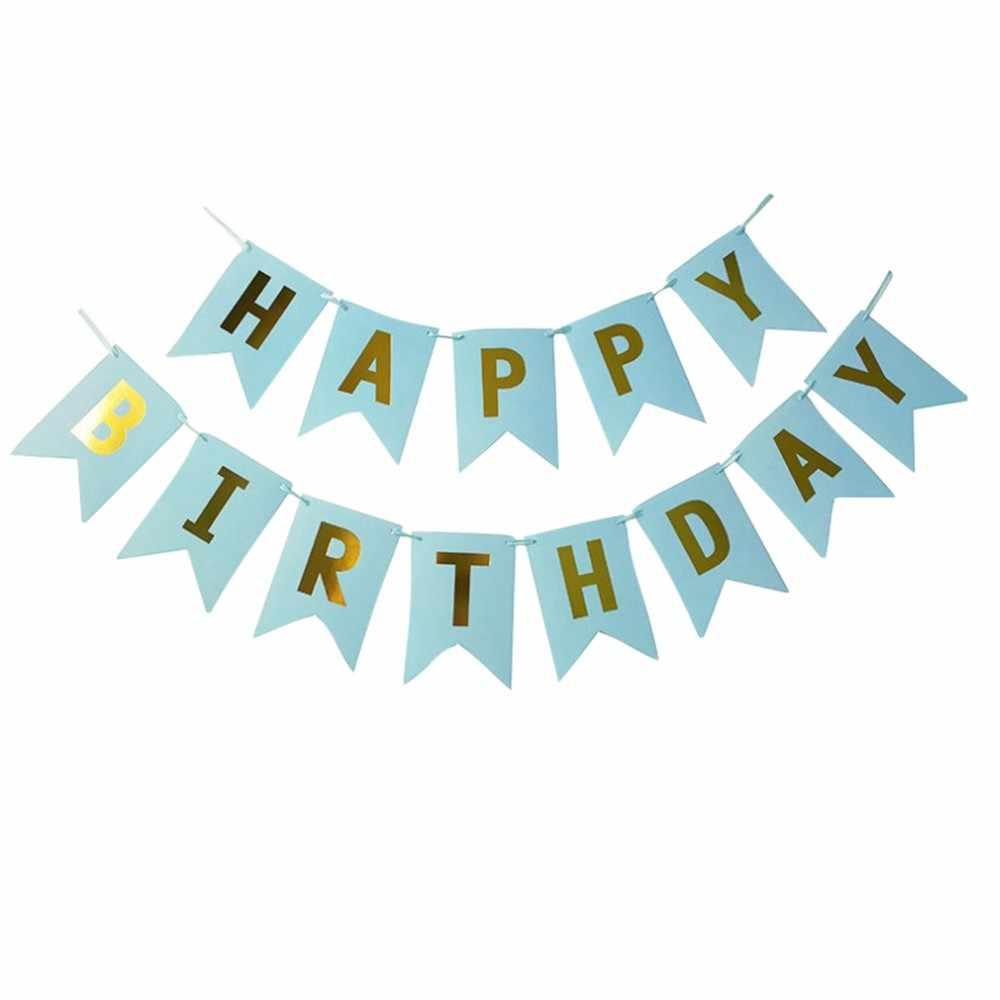 Пастельный совершенство гирлянда Золотой фольгированный с днем рождения баннеры вечерние вечеринка Декор ткань дети с днем рождения подарки для вечерние