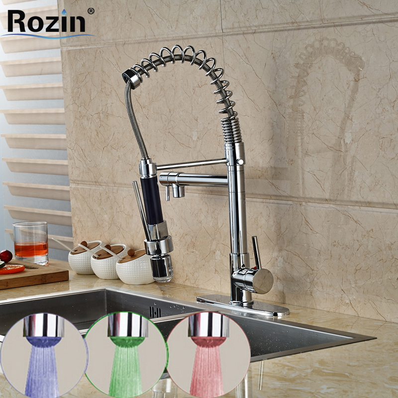 LED Light Chrome Deck Mounted Kitchen Faucet Single Handle Hole Swivel Spout Spring Vessel Sink Mixer Tap good quality chrome brass water kitchen faucet swivel spout pull out vessel sink single handle deck mounted mixer tap mf 376