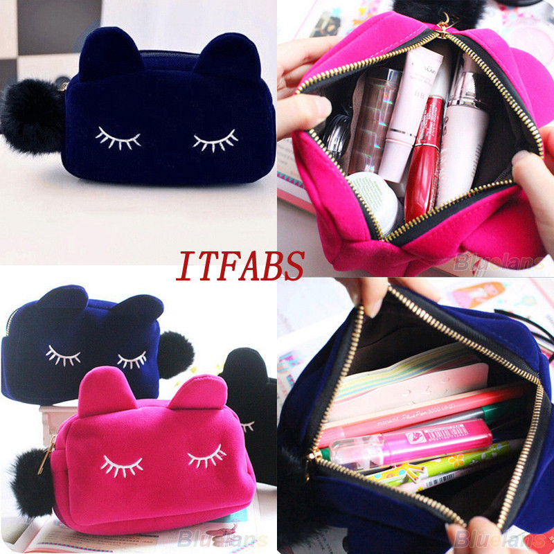 Cartoon Cat Black Makeup Bags Case Box with Zipper Cosmetic School Stationery Velour Pouch Purse Travel Make Up Bag(China)
