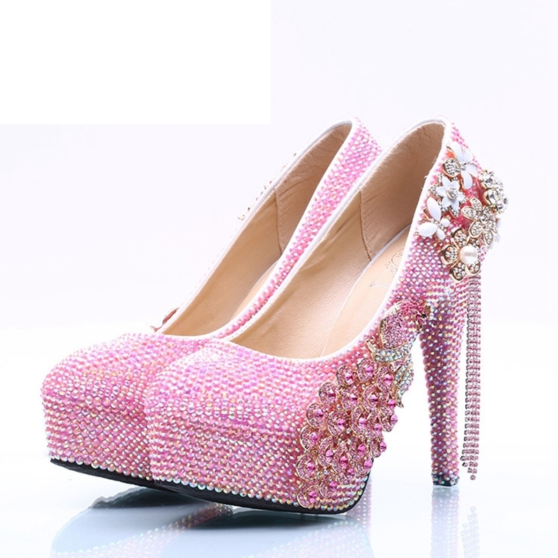 Sweet Pink Rhinestone Birthday Party Shoes Gift Sparkling Pink AB Crystal Wedding Prom Pumps Adult Ceremony Shoes Size 11Sweet Pink Rhinestone Birthday Party Shoes Gift Sparkling Pink AB Crystal Wedding Prom Pumps Adult Ceremony Shoes Size 11