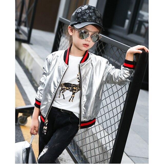 Ребенок топы 2017 Корейский новая версия девушка весна кожаная куртка детей серебро куртка MKBB