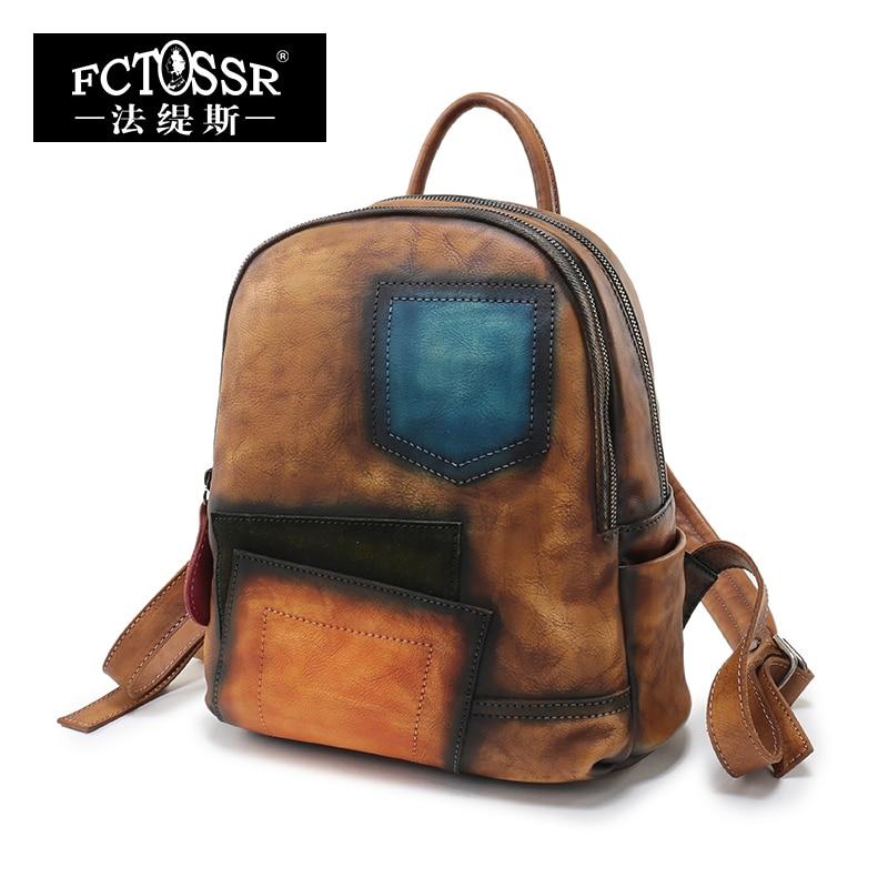 2018 New Arrival Multi Colors Original Design Women Bag Genuine Leather Handmade Vintage Women Backpack High Capacity Backpack