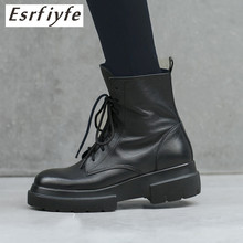 ESRFIYFE 2019 New Genuine Leather Women Ankle Boots Shoes Woman Spring Fall Lace Up Punk Size 34-42 Riding, Equestr