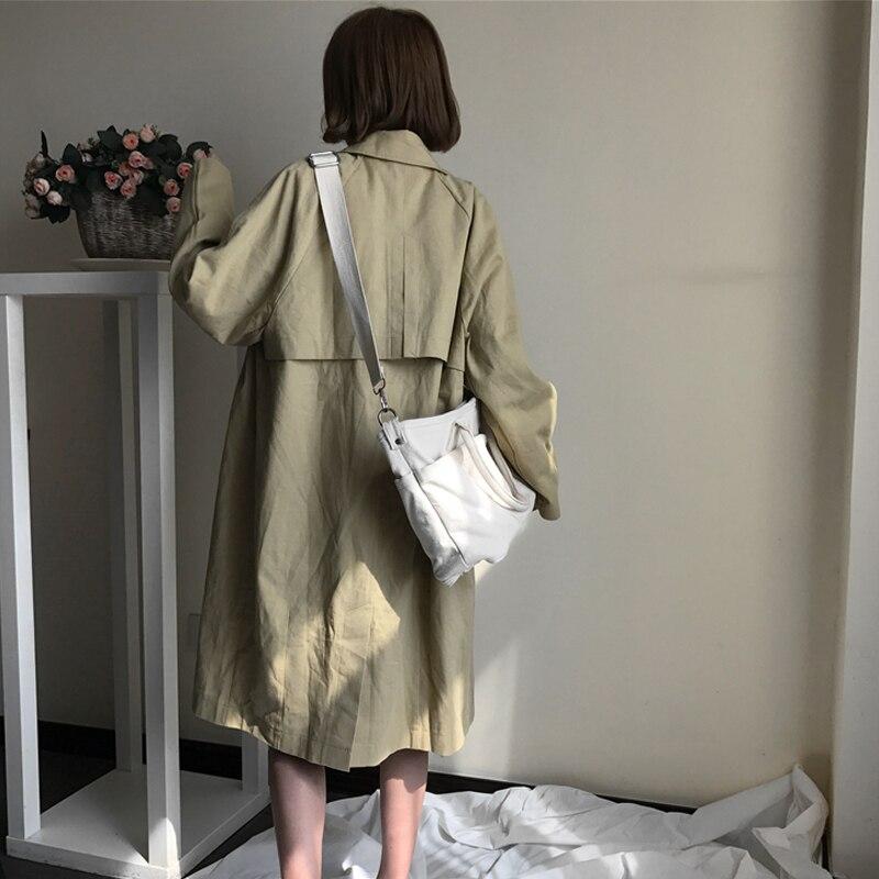 Simple 1 Coupe Style Couleur Coréen Manteau Collège Lâche Longue vent Double Sauvage De Boutonnage Femelle Printemps À Femmes qwTtxwI0