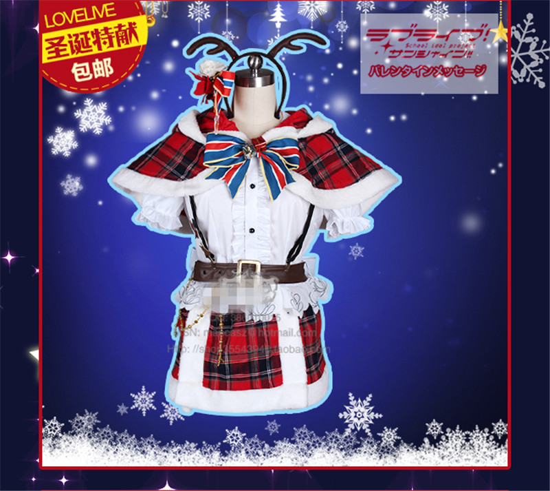Anime Aqours Love Live Sunshine Watanabe You Cosplay Costume Christmas Woman Autumn Winter Clothing