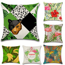 Nordic style Tropical plants Flamingo Animals Cushion Cover Decoration for home Sofa chair Pillow case friend kids gift present nordic style tropical plants flamingo green leaf cushion cover decoration for home sofa chair car pillow case friend kids gift