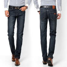 Ретро стиль мужчин джинсы высокого качества джинсовые темные прямые прямые высокой талией мужские джинсы размер