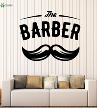 YOYOYU Vinyl Wall Decal The Barber Shop Salon Moustache Haircut Interior Scissors Decoration Stickers FD151