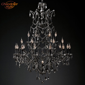 Image 1 - 19th C. Rococo Iron & Crystal Chandelier Lighting Modern Retro LED Chandeliers Pendant Lamp Hanging Light for Living Dining Room