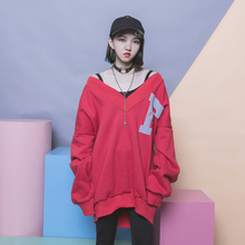 [soonyour]  Black Gray Red Hoody Concise Solid Flocking F Letter Oversize Sexy Thread V Lead Pullover  Long  Sleeve LS096D2