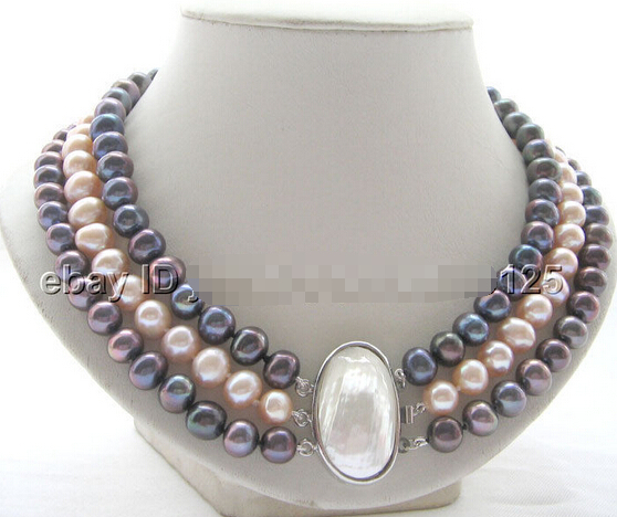 HOT## Wholesale > Beautiful 17-19 3row 10mm natural black pink round freshwater pearl necklaceHOT## Wholesale > Beautiful 17-19 3row 10mm natural black pink round freshwater pearl necklace
