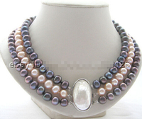 HOT## Wholesale > Beautiful 17 19 3row 10mm natural black pink round freshwater pearl necklace