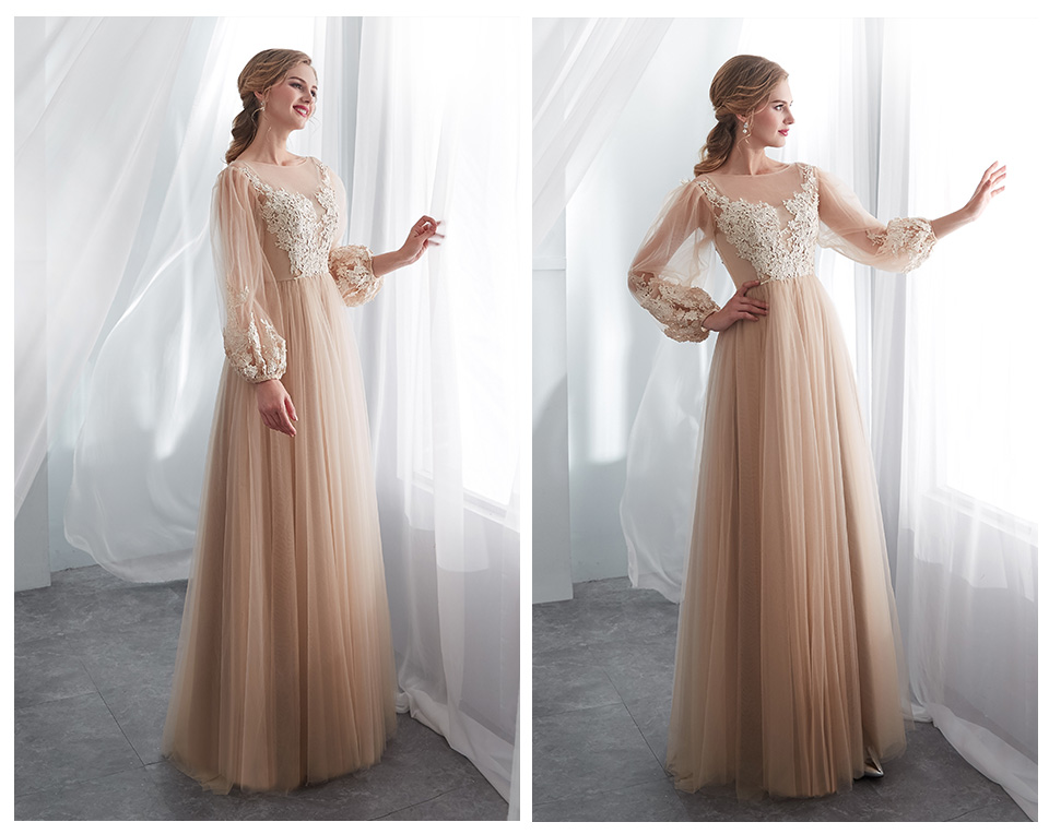 ebd0abbfeb97a HOT SALE] BeryLove Elegant Champagne Prom Dresses Long Sleeves Tulle ...