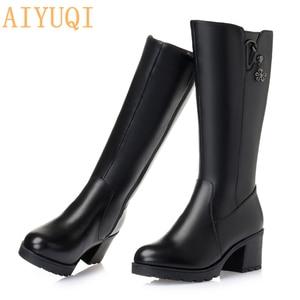 Image 4 - 2020 oryginalne skórzane buty damskie wysokie buty zimowe duży rozmiar 41 42 rosja lokomotywa kobiet