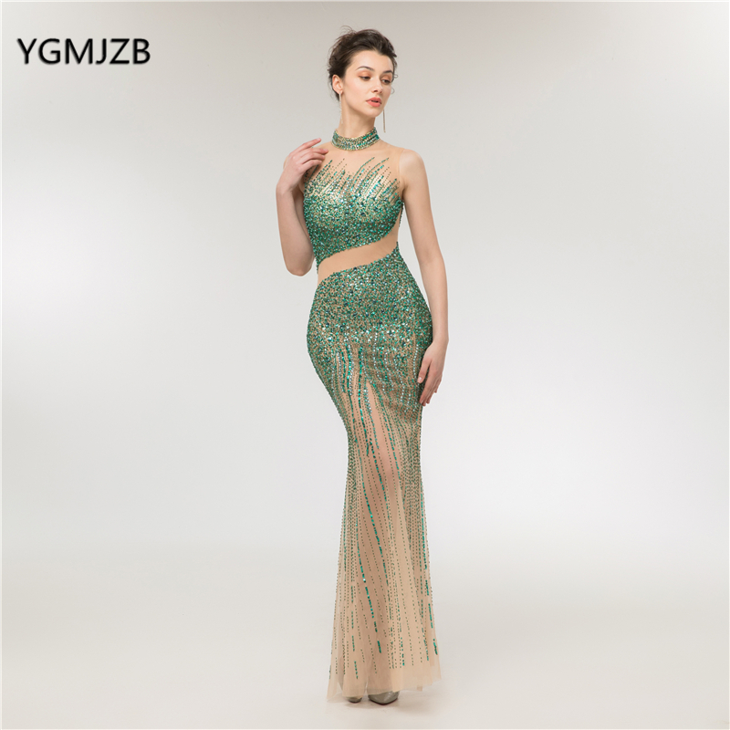 abendkleider 2018 Luxury   Evening     Dress   Long Mermaid High Neck Beads Crystal Pearls Women Formal Prom   Evening   Gown robe de soiree