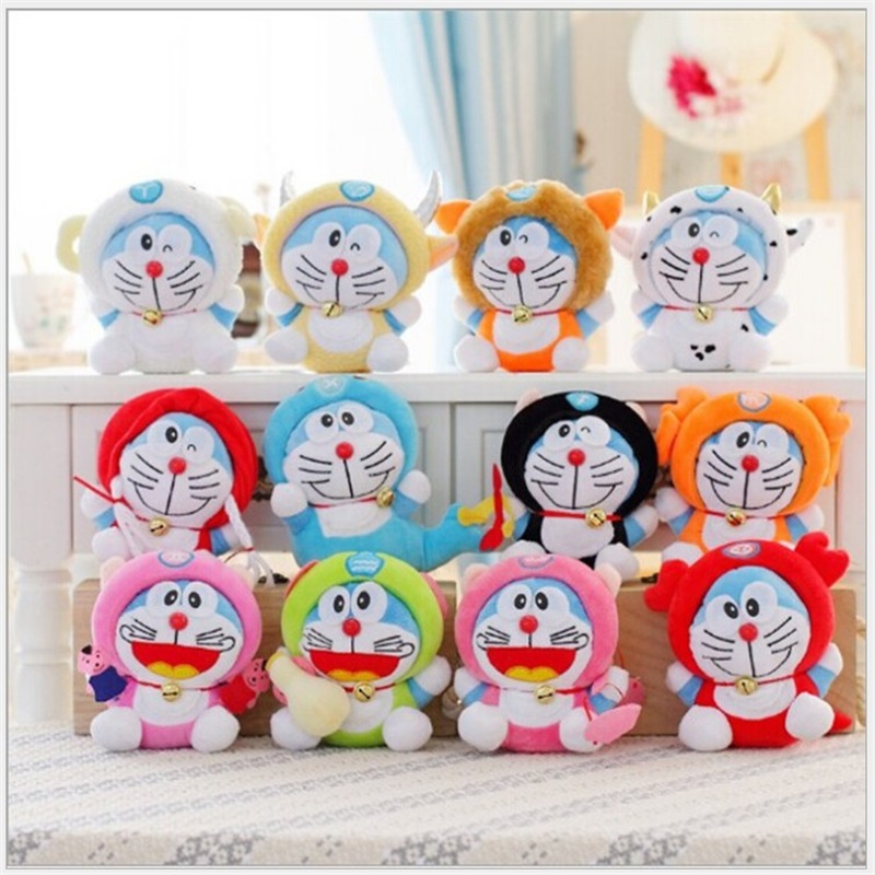 12pcs 18cm Twelve Constellation Doraemon Kawaii Doll Stuffed Animal Baby Plush Toy Wedding Gift Kids Toys Collectible Gift