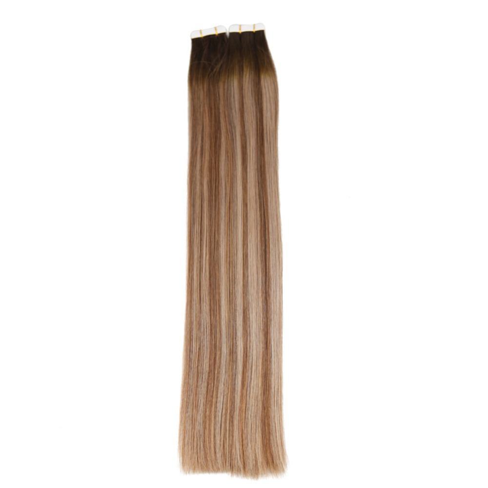 Full Shine Tape In Remy Hair Balayage Color #4/6/18 Tape In Extensions 100 Gram Adhesive Haar Extension 40Pcs Glue On Hair