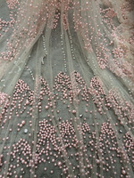Embroidery design African net lace fabric beads/pearls High quality Pink French tulle lace material for nigerian wedding dress