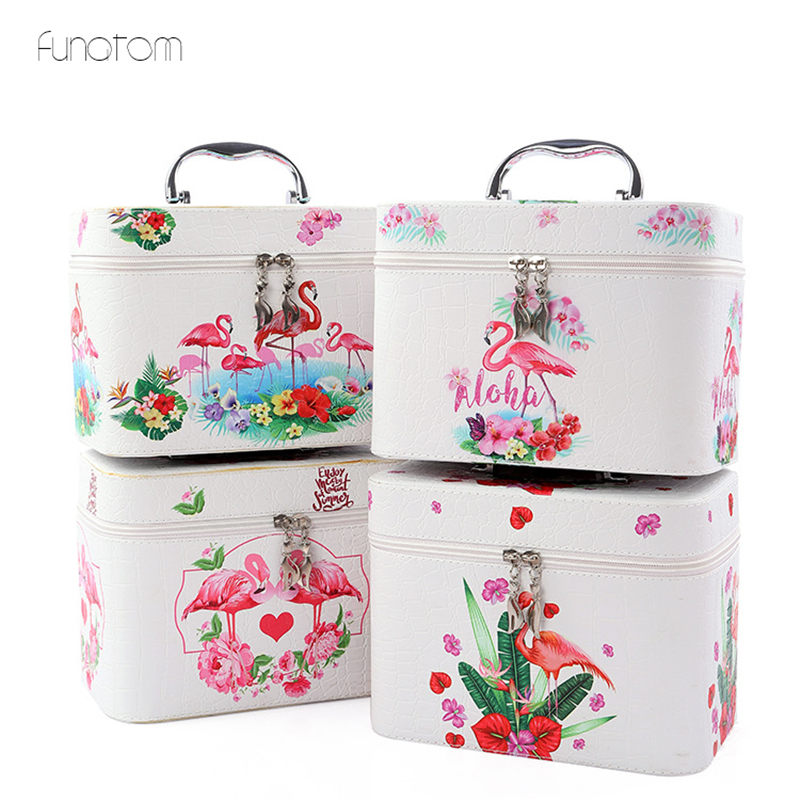 3pcss/set Flamingo Pattern Makeup Organizer Travel Beauty Cosmetic Case For Make Up Bolso Mujer Storage Bag