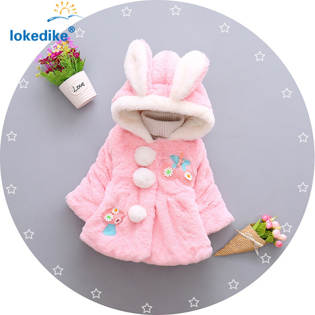 Hot Sales Jackets Girl clothes 2017 New  Kids Toddler Girls outerwear Hooded Girls Winter Coat Solid Cute Children's Coats T2912