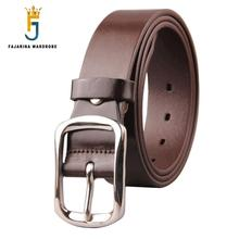 FAJARINA Top Quality Cow Skin Leather Belt Mens Stainless Steel Clasp Buckle Cowhide Fashion Belts for Men 3.8cm Wide N17FJ446