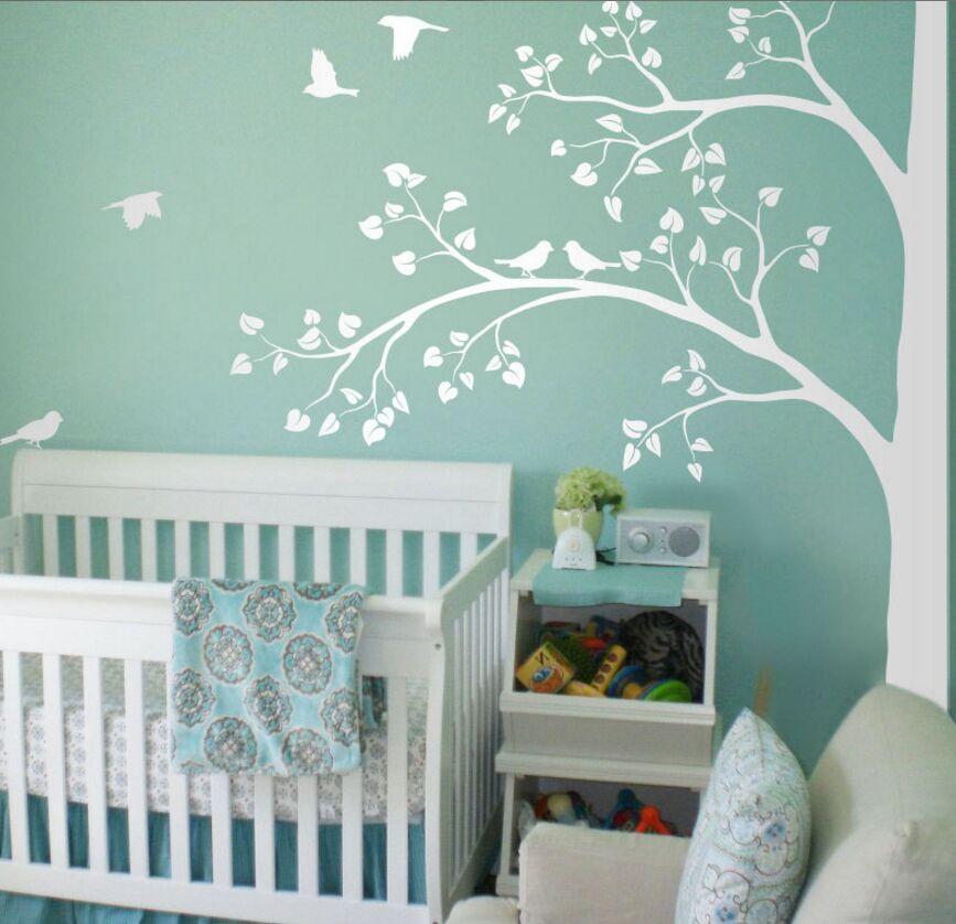Immense Sticker Mural arbre d'angle feuilles et oiseaux vinyle Sticker Mural chambre d'enfants décor de pépinière Nature grand arbre Mural AY1338