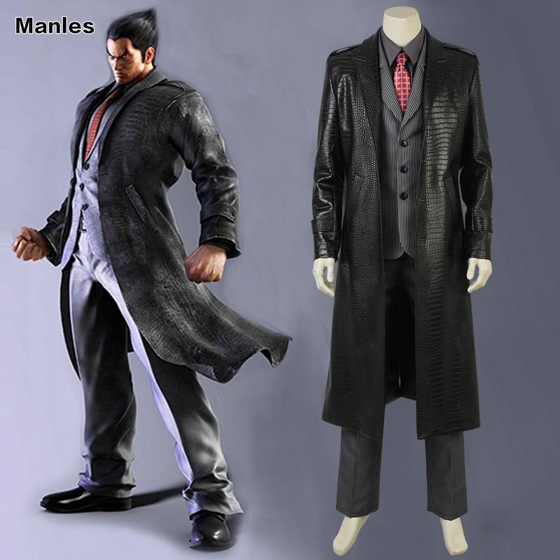Tekken Mishima kazuya Cosplay Costume Game Suits Black Outfit Adult Men Halloween Carnival Clothes Full Set Leather Coat Unisex