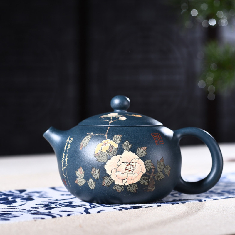 Goods Full Manual Raw Ore Blackish Green Clay Painting Xi Shi Kettle Kungfu Online Teapot Tea Set A Piece Of Generation HairGoods Full Manual Raw Ore Blackish Green Clay Painting Xi Shi Kettle Kungfu Online Teapot Tea Set A Piece Of Generation Hair