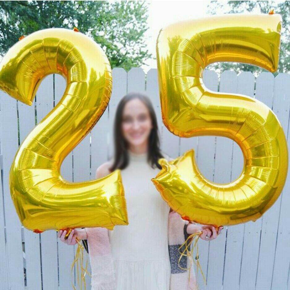 16/32 дюйма номер алюминиевый воздушный шарик из фольги в форме розового цвета: золотистый, серебристый цифры рисунок воздушный шар для детей и взрослых, украшения для свадьбы и дня рождения вечерние поставки-3