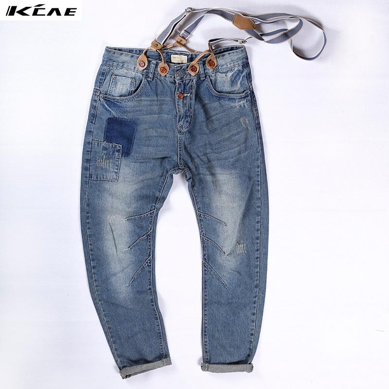 New Mens Slim Jeans Denim Overalls Distressed Pants Jeans Ripped Bib Overalls for Mens Plus Size M-XXL plus size pants the spring new jeans pants suspenders ladies denim trousers elastic braces bib overalls for women dungarees