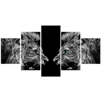 5 Piece Roaring Lions Canvas Painting Art Print Poster Wall Decor Art Decorative Painting Frameless