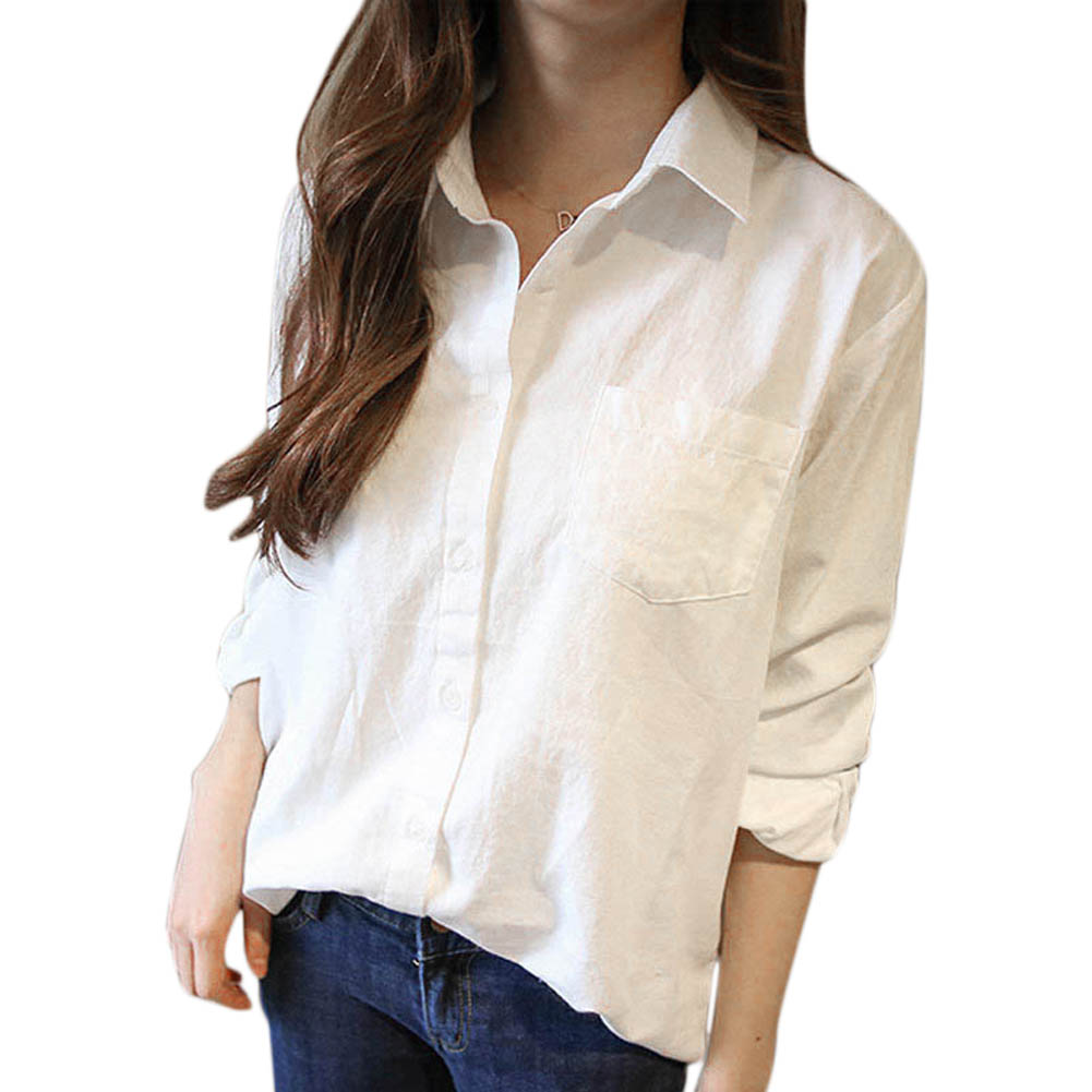 5cce1308b40ad 2017 Women Blouses Autumn Spring Female White Shirt Turn Down Collar Long  Sleeve Tops Casual Cotton
