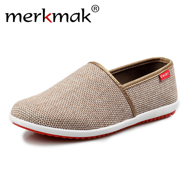 c753859ba06c Merkmak 2018 New Breathable Men Hemp Summer Loafers Comfort Fashion Knitted  Light Soft Men Shoes Casual Driving Footwear
