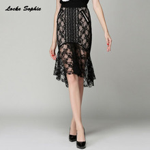 1pcs Hight waist skirts Womens Plus size Fishtail 2018 Autumn Lace Splicing hollow skirt Ladies Skinny mermaid