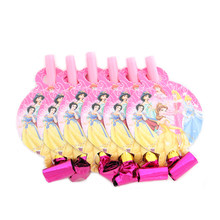 6Pcs/lot Princess Noise Maker Catroon Theme Blowout Plastic Whistle Kid's Birthday Party Fittings Party Supplies Decorative Toys(China)