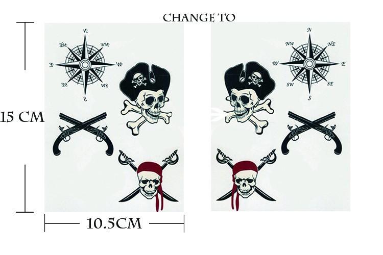 13cd7cf236fb0 sex product Temporary tattoos large pirate skull flash tatoo Sticker ...