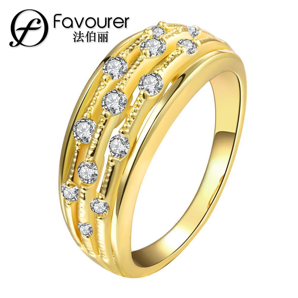 Gold Color Big Wedding Rings Vintage Austrian Crystal Engagement Rings For  Woman Fashion Jewelry(china