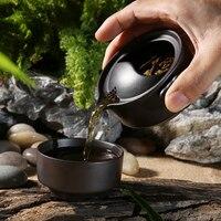 Путешествия Китай Чайный набор кунг-фу с заваркой 1 чайник 1 чашка портативный чайник Gaiwan Чайник кофейная чашка посуда для напитков для кемп...