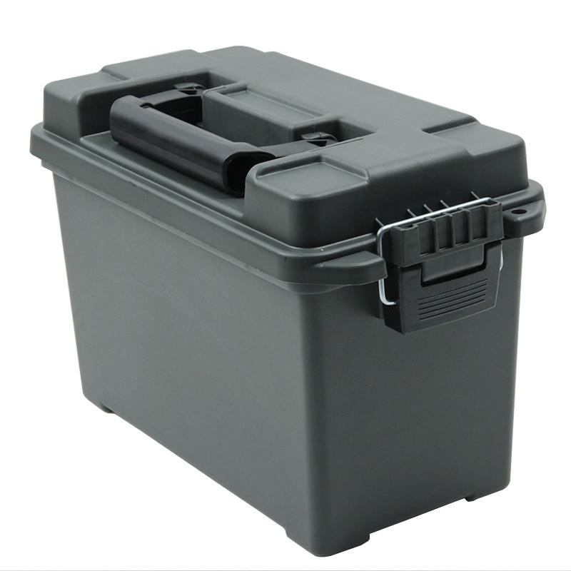 Caixa de Armazenamento De Plástico Estilo Militar munição Pode Pesada caixa de Armazenamento Caso Caixa de Munição Calibre Em Massa Leve Bala Tático