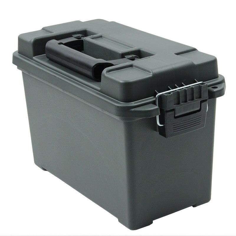 Caja de municiones, caja de almacenamiento de plástico de estilo militar, caja de municiones a granel de calibre pesado, caja de almacenamiento ligera, caja de balas táctica