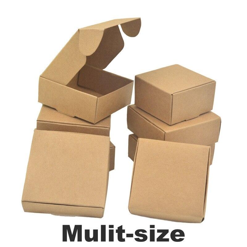 Wholesale 50pcs Natural Brown Kraft Paper Packaging Box Cajas De Carton Box Soap Packaging Box Wedding Favors Candy Gift Box