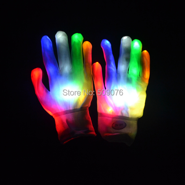 Free shipping 2pcs/1pairs Magic white glove Rainbow Flash Fingertip LED Gloves Unisex Light Up Glow Stick Gloves Mittens Hot
