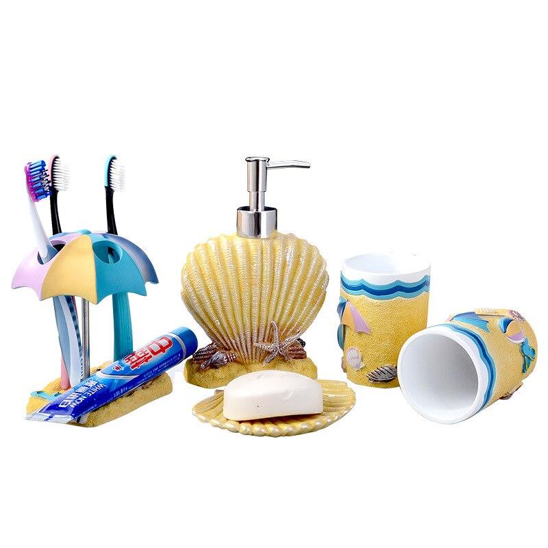 5 pièces accessoires de salle de bain été style résine ensemble salle de bains articles de toilette électrique porte-brosse à dents gobelet bouche tasse cadeau de mariage